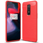 Flexi Slim Carbon Fibre Case for OnePlus 6 - Brushed Red